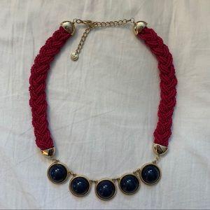 Talbots Navy & Pink Braided Statement Necklace